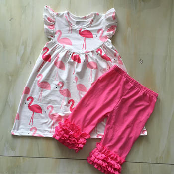 Cx 547 Wholesale Pink Flamingo Baby Girls Dresses Smocked Children