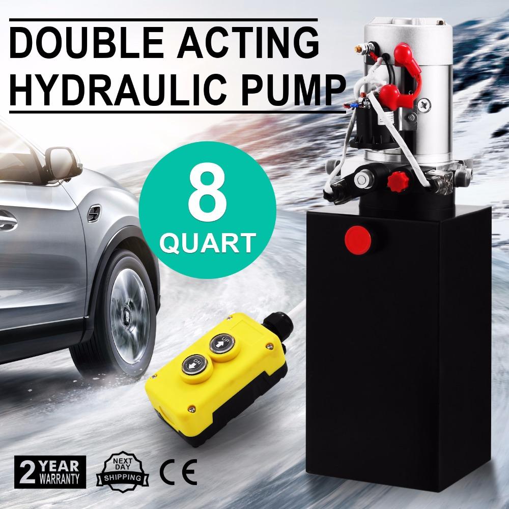 unit de puissance hydraulique 8 quart double effet hydraulique pompe unit 12 v r servoir en. Black Bedroom Furniture Sets. Home Design Ideas