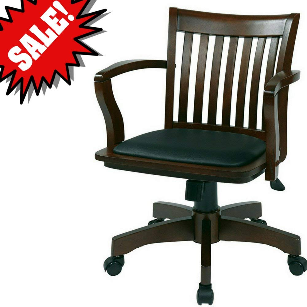 Get quotations · bankers desk chair with arm rests wooden espresso brown black vinyl upholstered padded tufted seat swivel