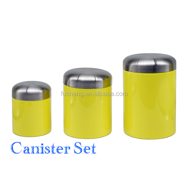 Three Different Size Yellow Kitchen Canister Set With Silicone Ring