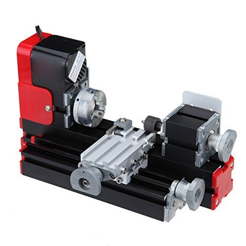 Iglobalbuy Motorized Metal Mini Lathe Machine Woodworking DIY Power Tools Hobby Sience Education Modelmaking,7 x 12-Inch