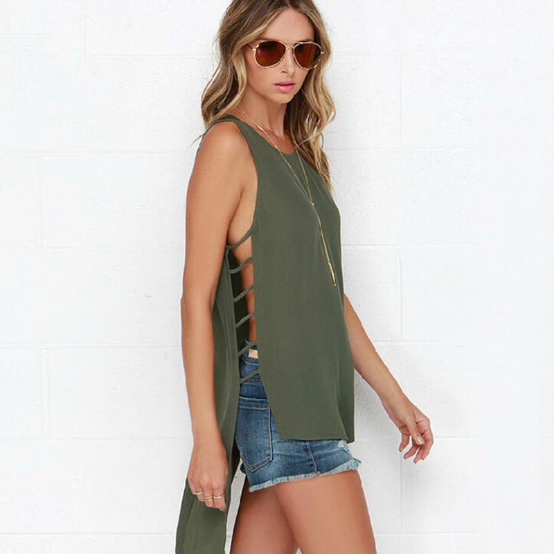New Brand Solid Sleeveless Hollow Out irregular Women Chiffon Blouse Tops 2015 Summer Casual Tee Shirt Brand Blusas Femininas
