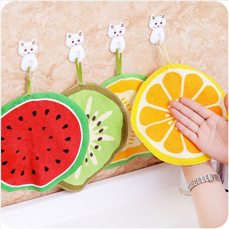 Kitchen Tool Water Uptake Hanging Type Cartoon Fruit Pattern Soft Dish Rag
