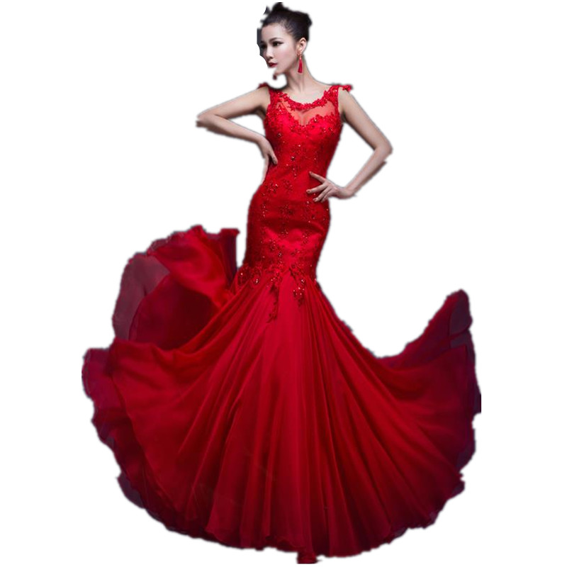 Costom Made 2015 Exquisite Scoop Neck Trumpet Appliques Sequins Lace-up Floor-Length Long Evening Dresses With Chiffon