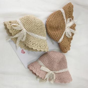 Wholesale Plain Custom Sun Protection Baby Crochet Straw Beach Hat