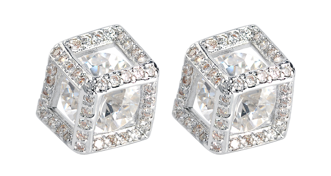 Fashion simple copper square fancy design small single stone white gold plated stud earrings