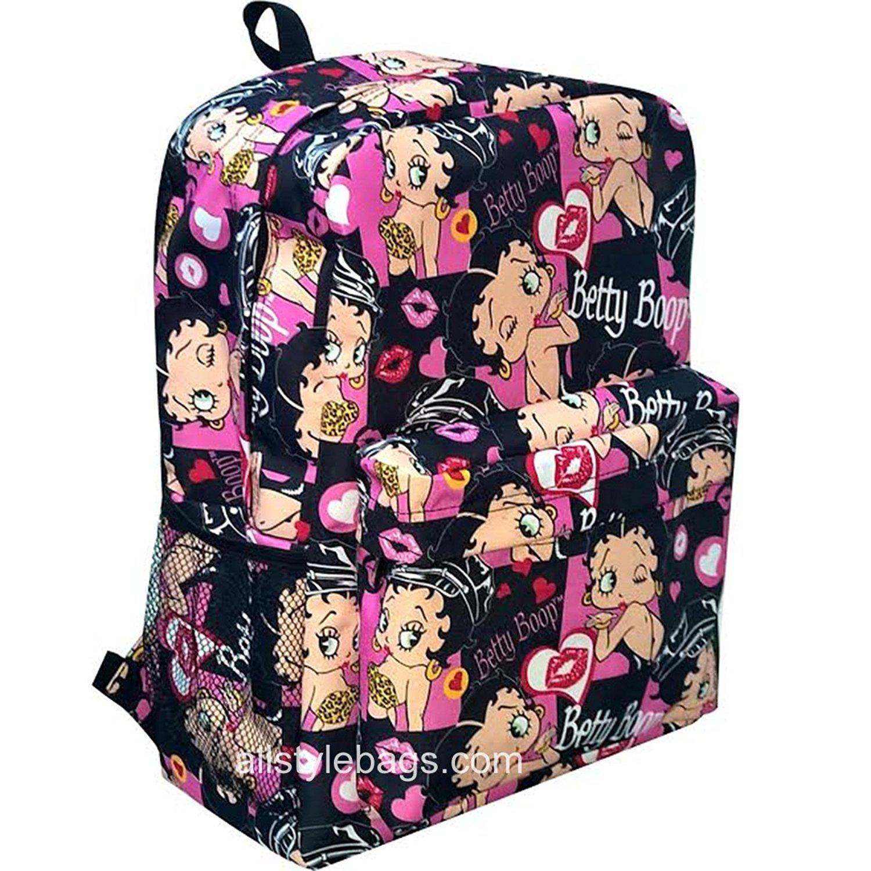43f9f83b Get Quotations · Betty Boop black canvas L Bag Backpack cartoon School Pink  Heart Pockets