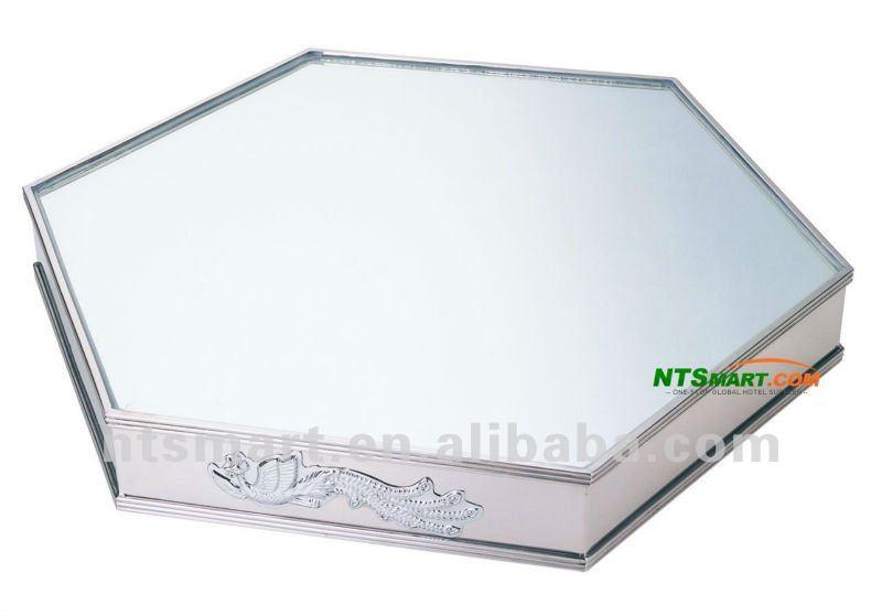 miroir hexagonal plateau en finition miroir couverts. Black Bedroom Furniture Sets. Home Design Ideas
