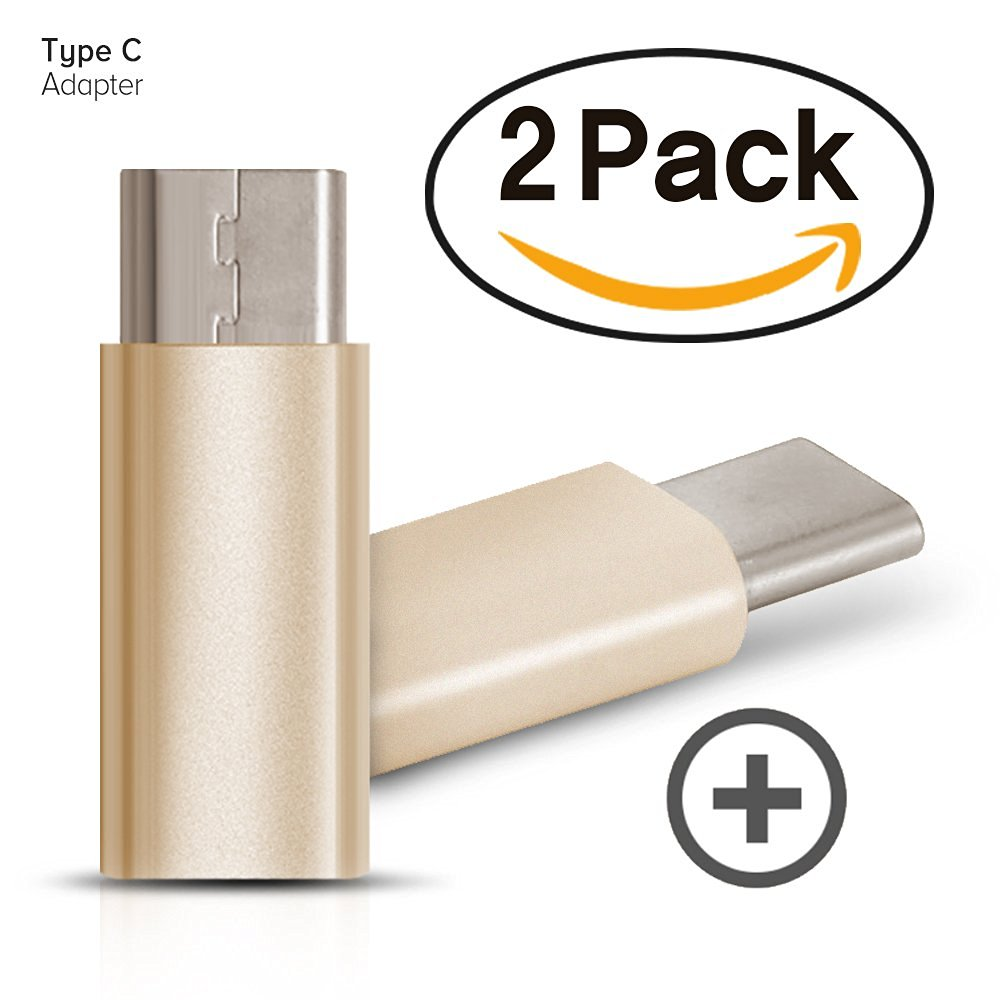 i-croo USB-C Adapter Convert Connector (2pack), Approved to Meet USB Type C Standard, USB Type C Male to Micro USB Female for LG G5, Nexus 5X, 6P, HTC 10, MackBook, Lumia 950 etc (Gold)