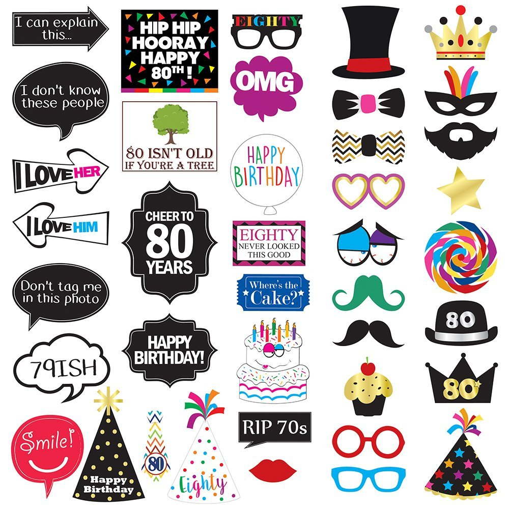 Get Quotations 80th Birthday Photo Booth Party Props