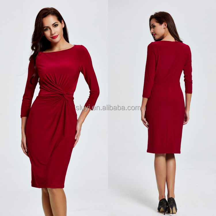 Quality apparel long frog dress casual slim fitting office women long sleeves midi dress new fashion design ladies dress