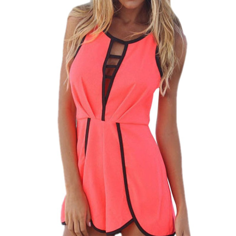 d8adf183bd0 Get Quotations · Vestidos de novia 2015 summer style hot pink romper women  sleeveless jumpsuit casual night club jumpsuit