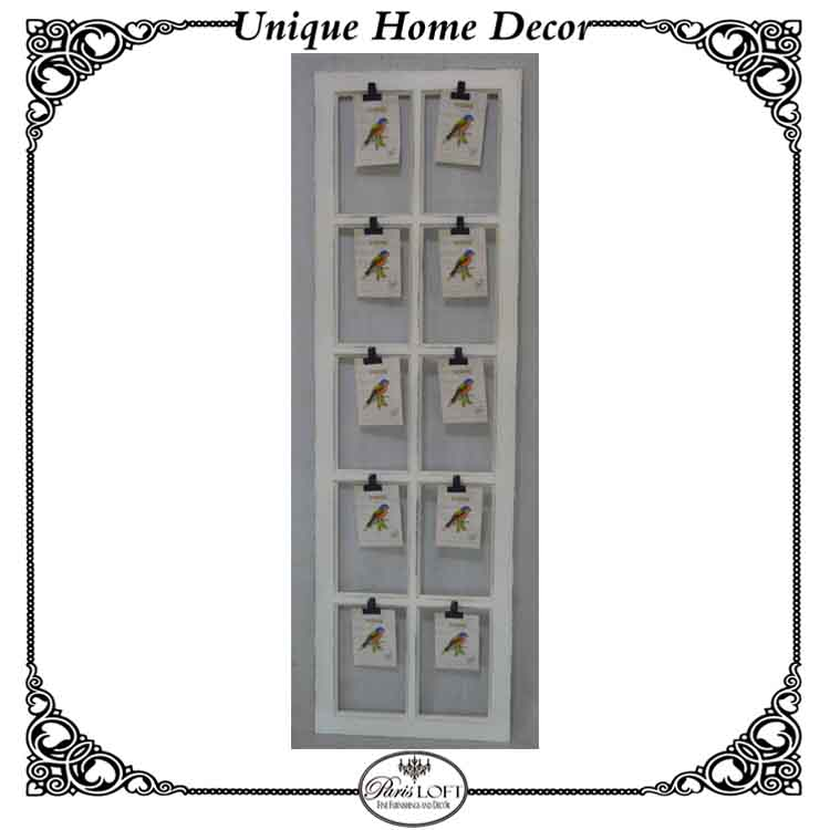 White Vintage Wood Window Collage Photo Frames With Metal Clips