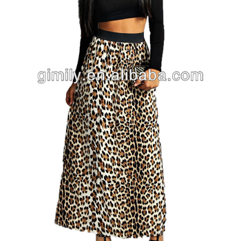 a33f15256f15 Animal Leopard Print With Waistband Black Long Maxi Skirt - Buy ...