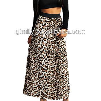 Falda Impresión Animal Con Negro Leopardo La De Maxi Cintura rqSSEpB8wx