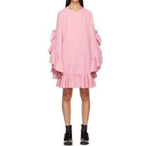 Fashion Crewneck Pink Long Sleeve Ruffle Dress Flared Cuffs Stretch Crep Casual Dress With Welt Pocket At Waist