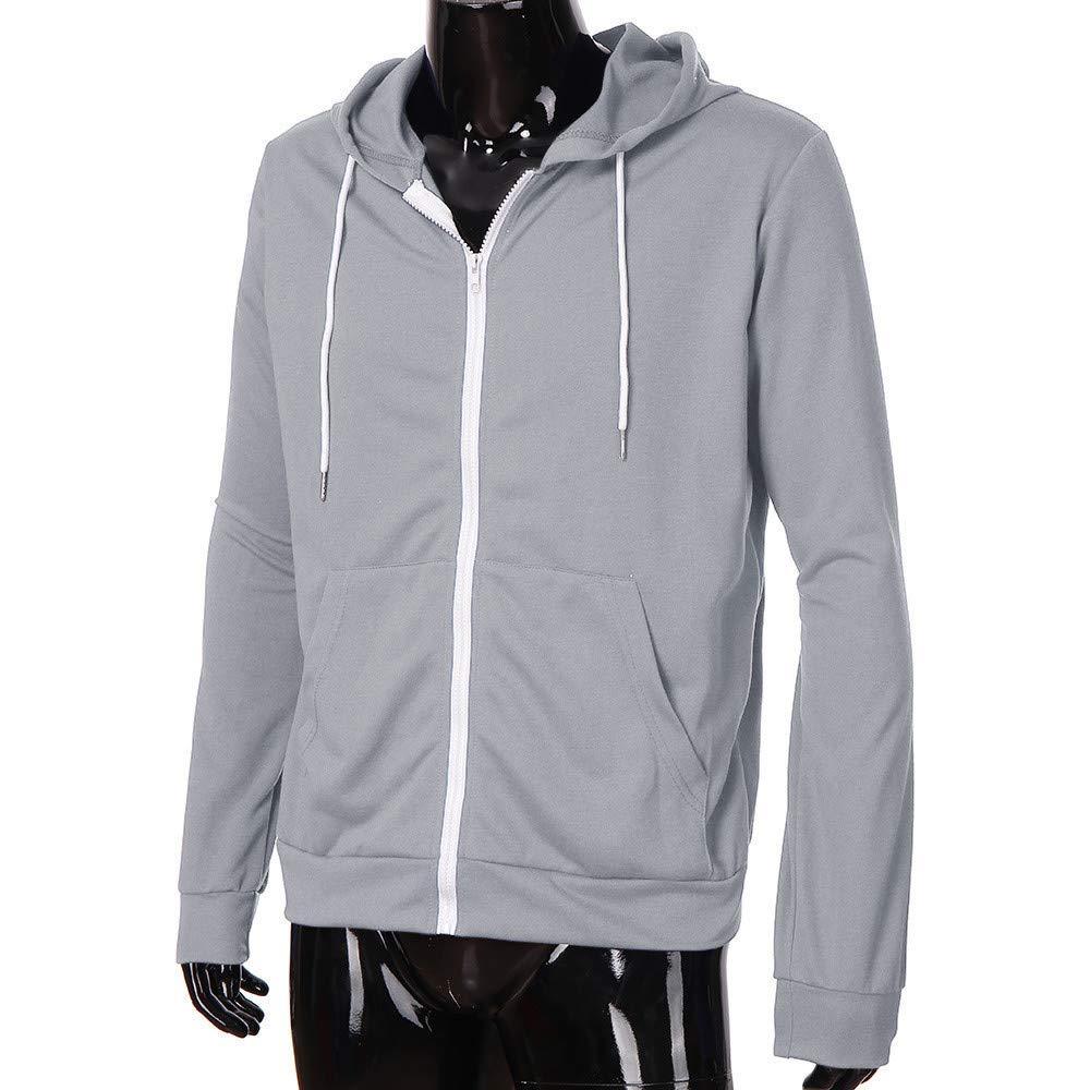 Mens Slim Hoodie Jacket Long Sleeve Lightweight Sweatshirt with Kangaroo Pocket Details