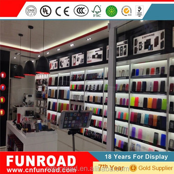 China Factory Wood And Tempered Glass Mobile Phone Shop Interior Design Furniture