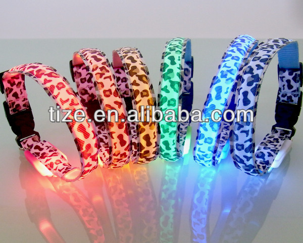 Leopard Print Polyester Webbing Dog Collar Led For Christmas Promotion Gift