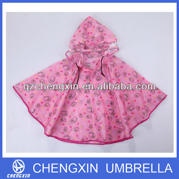 pink colour printed polyester rain poncho for kids