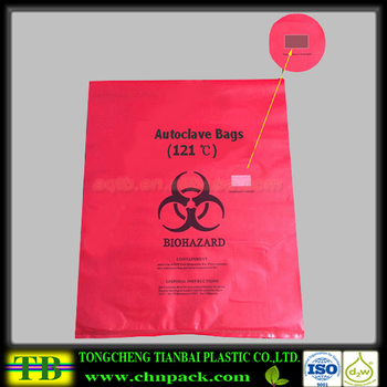 Red Biohazard Waste Bag Disposable Autoclave Bag With Symbol