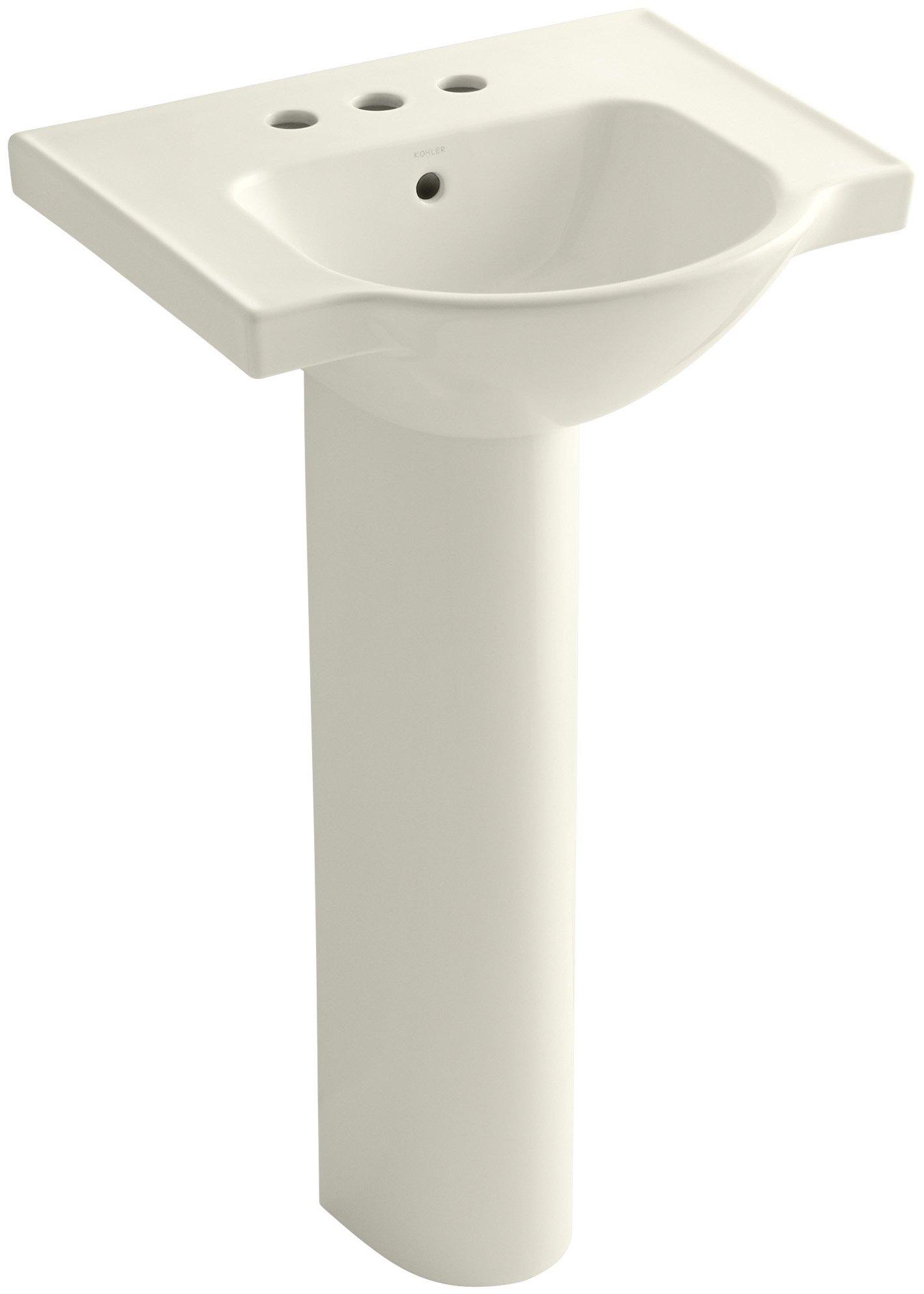 KOHLER K-5265-4-96 Veer Pedestal Bathroom Sink with 4-Inch Centerset Faucet Holes, 21-Inch, Biscuit
