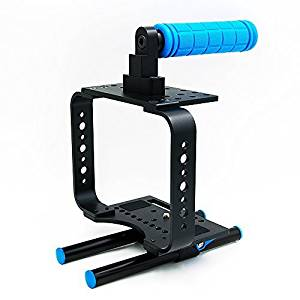 Morros New BMCC DSLR Camera Cage rig 15mm Rods + Top Handle for mounting Follow Focus, Matte Box, etc. with Heat Emission Holes for Blackmagic Cinema Camera