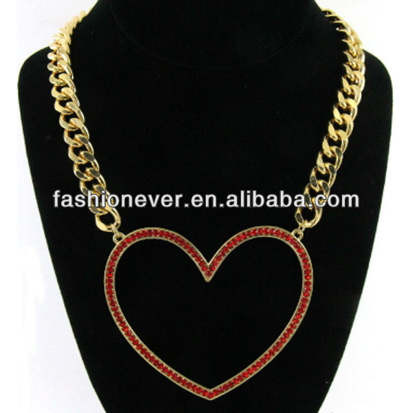 I LOVE IT! Gold Plated Oversized Crystal HEART Pendant Chain Necklace 18 inches