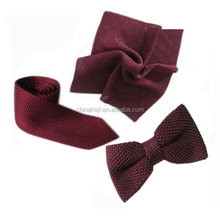 Custom Brand Design 100% Silk Fashion Skinny Knitted Tie 7.0cm Point End And Pocket Square And Bow Ties Sets