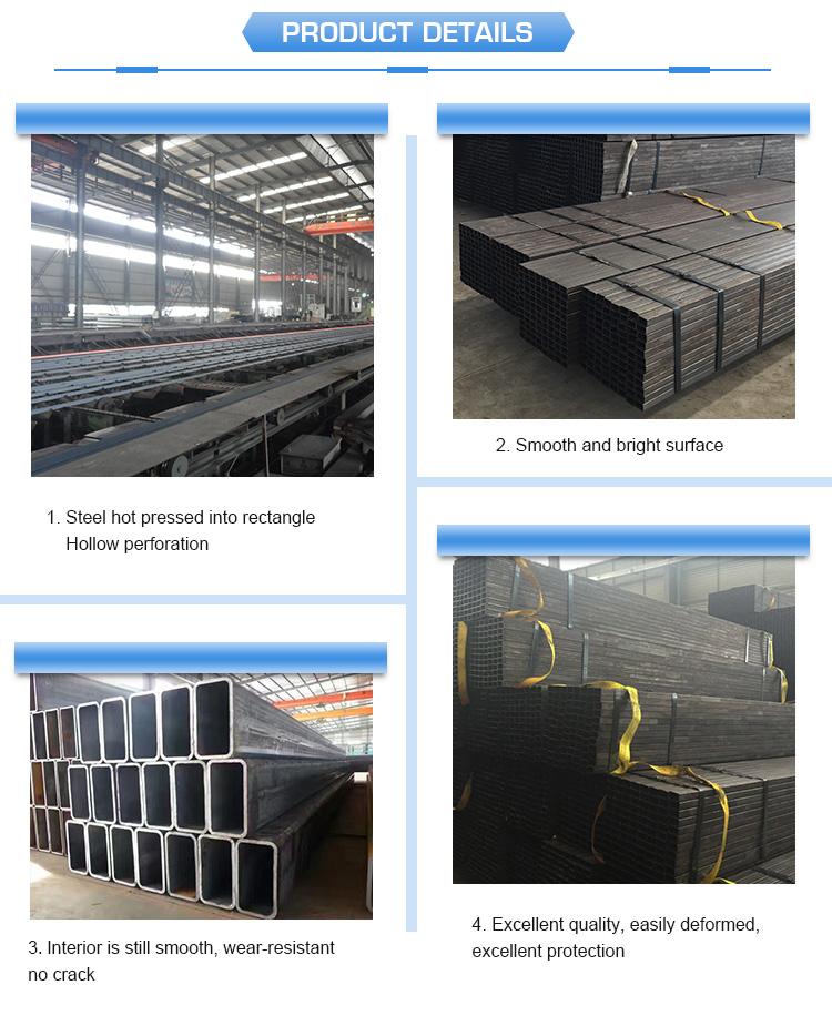 Commerce Assurance En Acier Doux Pur Noir Carré Creux Section 75X75X2.3mm marché Du Myanmar