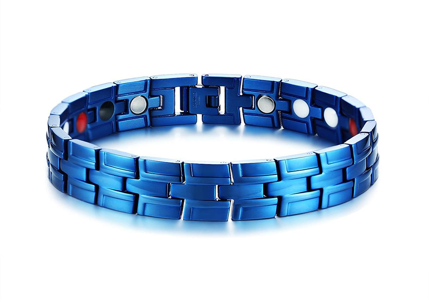 MPRAINBOW Men's Stainless Steel Healthy Body 4 in 1 Magnetic Therapy Healing Masonic Bracelet Blue 22cm