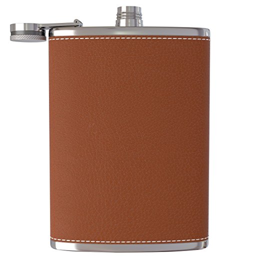 customized PU leather cover stainless steel 8oz hip flask for liquor alcohol