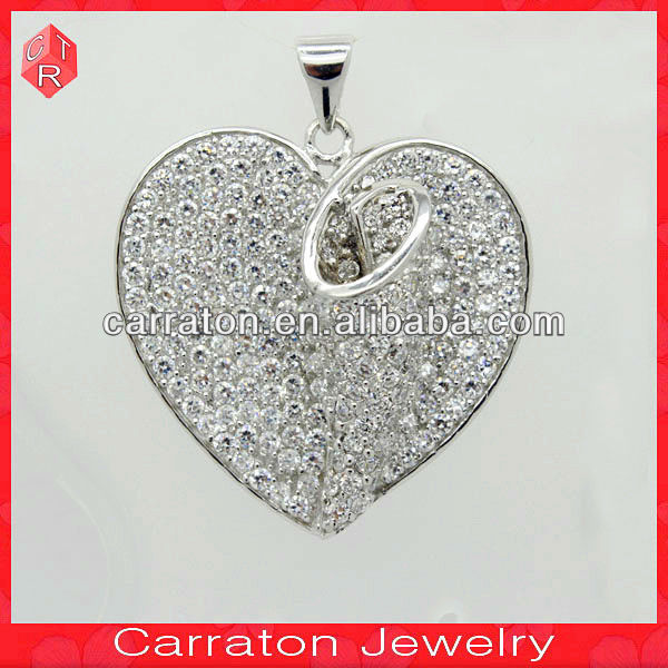 Luxury Micro Pave Setting Jewellery Heart Shape White CZ Charms Pendant