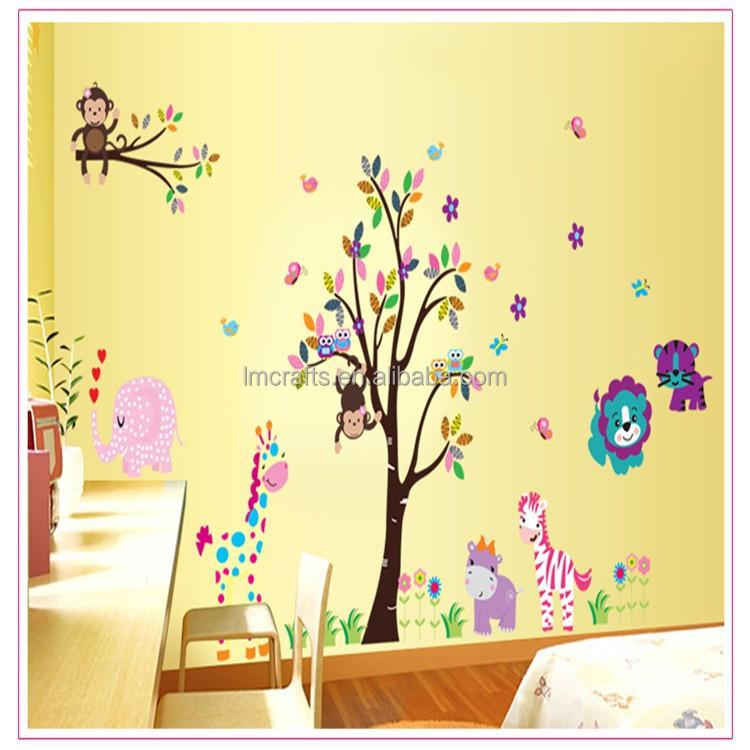 Owl Monkey Animal Tree Vinyl Wall Stickers Kids Decor Home Wall Paper Decal  Deco Art Sticker New,Big 2 Set Df5099 - Buy Owl Monkey Animal Tree Vinyl  Wall