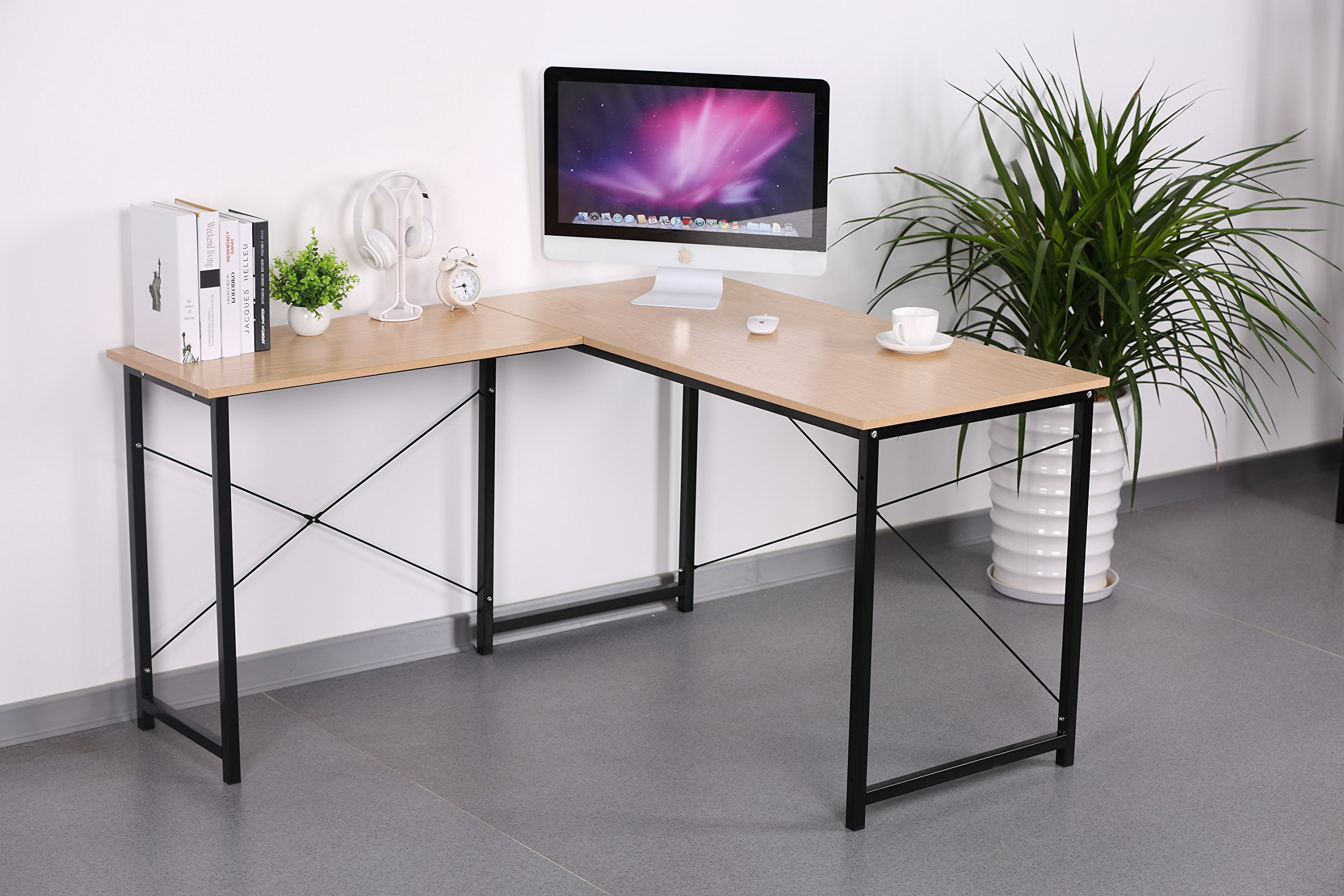 Sonoma Oak Wood Finish Black Metal L-Shape Corner Computer Desk PC Laptop Table Workstation Home Office