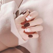 24 шт./компл., винно-красные накладные ногти для дизайна ногтей, акриловые накладные ногти с полным покрытием, декор для маникюра, стильные ис...(Китай)
