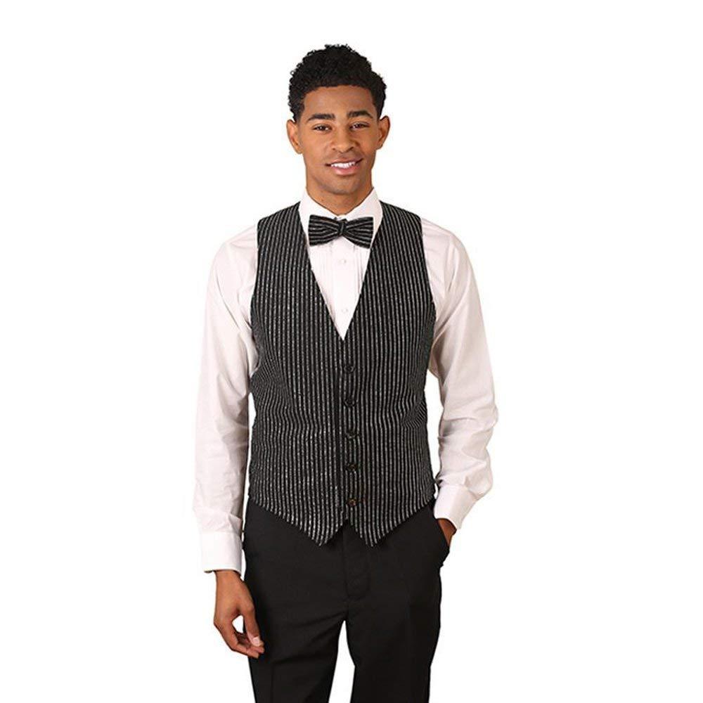 Men's Black & Silver Glitter Pinstripe Pattern Vest