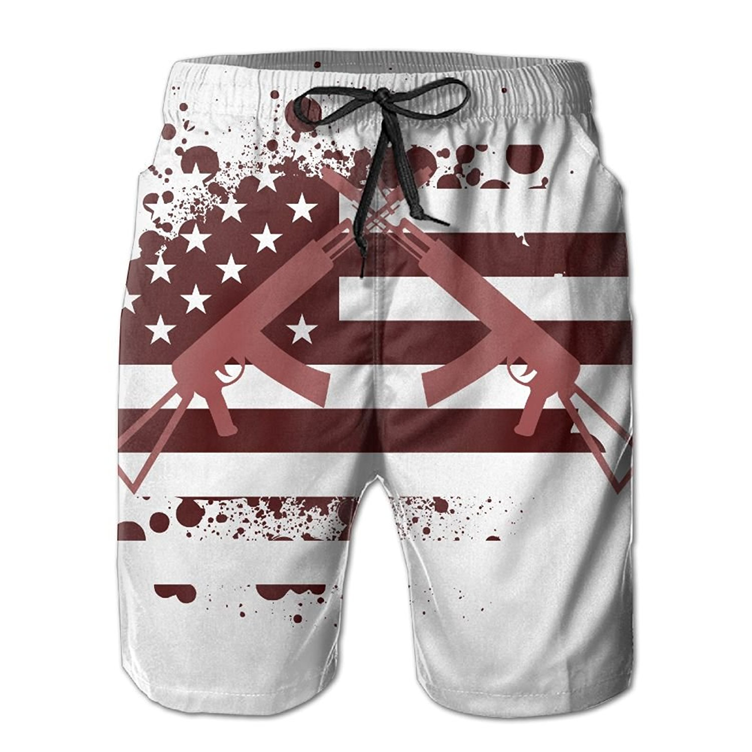 a1a23440ae Get Quotations · American Flag Guns Summer Quick Dry Casual Swim Trunks  With Pockets