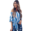 Women Autumn Half Sleeves Off Shoulder Blouse Women Summer Sexy Slash neck Blusas Vertical Stripes Shirt Ladies Tops