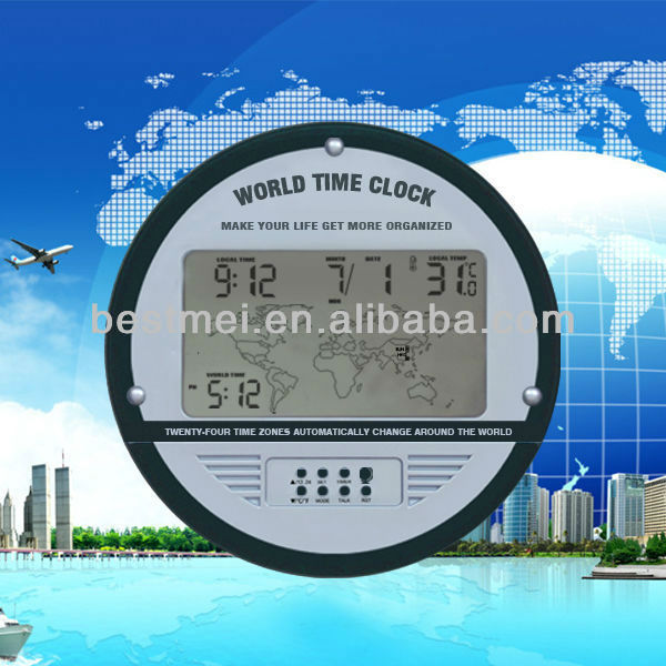 24 timezone digital electronic world time clock