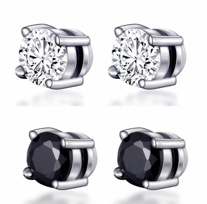 Unisex Non Pierced CZ Magnetic Plating Silver Stud Earrings