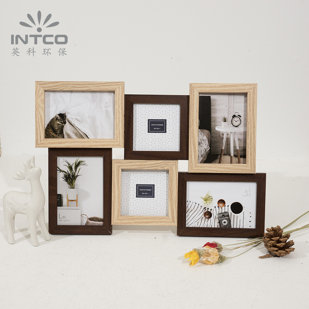 INTCO Light and Dark Wood Hot Multi Photo Picture Collage Frame