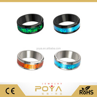 POYA Jewelry 8mm Tungsten Beveled Edges Opal pattern Inlay Wedding Band Rings