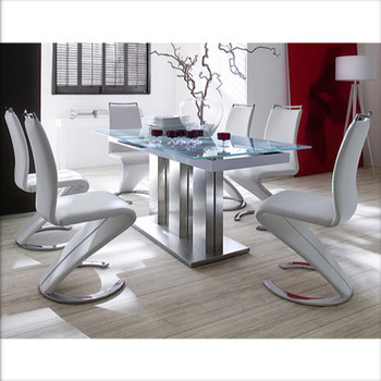 Modern Steel Frame 6 Seater Gl Dining Tables For Office And Hall
