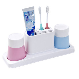 Family Plastic Bathroom Accessory Organizer Cup Toothbrush Holder