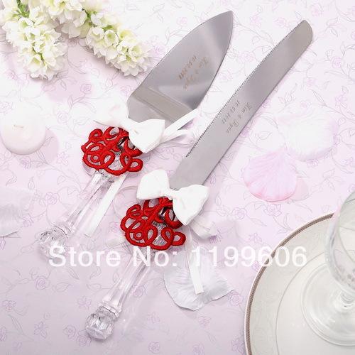 personalized red embroider wedding cake knife server. Black Bedroom Furniture Sets. Home Design Ideas