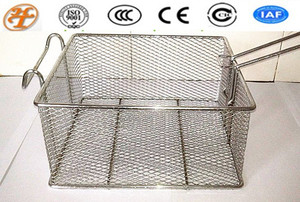 stainless steel square chip frying mesh basket
