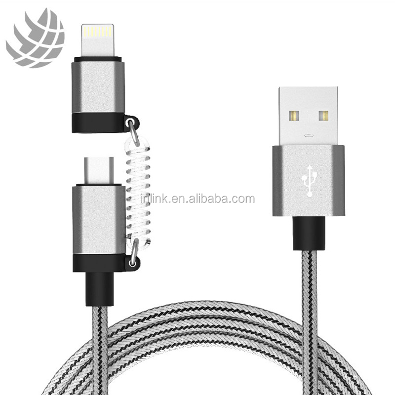 Original 2 en 1 MFI Cable de carga de 8 pines de Nylon trenzado de 3ft USB Cable de la fecha para Android y Apple