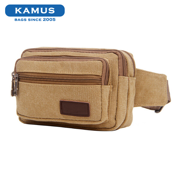 Kamus brand new fashion design colorful sports running canvas mobile phone travel waist bag