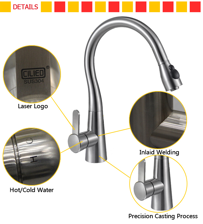 C20S single hole water stainless steel kitchen faucets